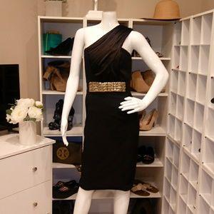 $280 MARIA BIANCA NERO STRETCH SATIN DRESS P/XS